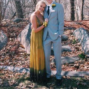 Yellow long free people formal dress
